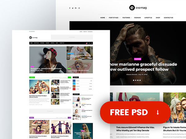 Multiconcept Blog & Magazine PSD Template Free