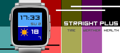 Straight Plus watch face for Pebble Time / Steel / Time 2