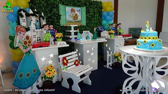 Decoração de mesa de aniversário Frozen - Febre congelante - Aniversário da Anna