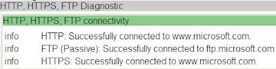 HTTP, HTTPS, FTP Diagnostic info