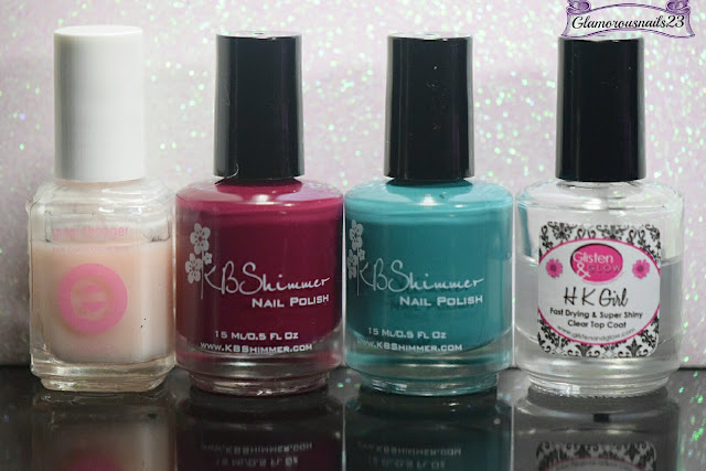 Essie Grow Stronger, KBShimmer Such A Vlad-Ass, KBShimmer Teal It To My Hear, Glisten & Glow HK Girl Fast Drying Top Coat