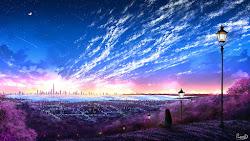 Sky City Scenery Horizon Landscape Anime 8K Wallpaper #131