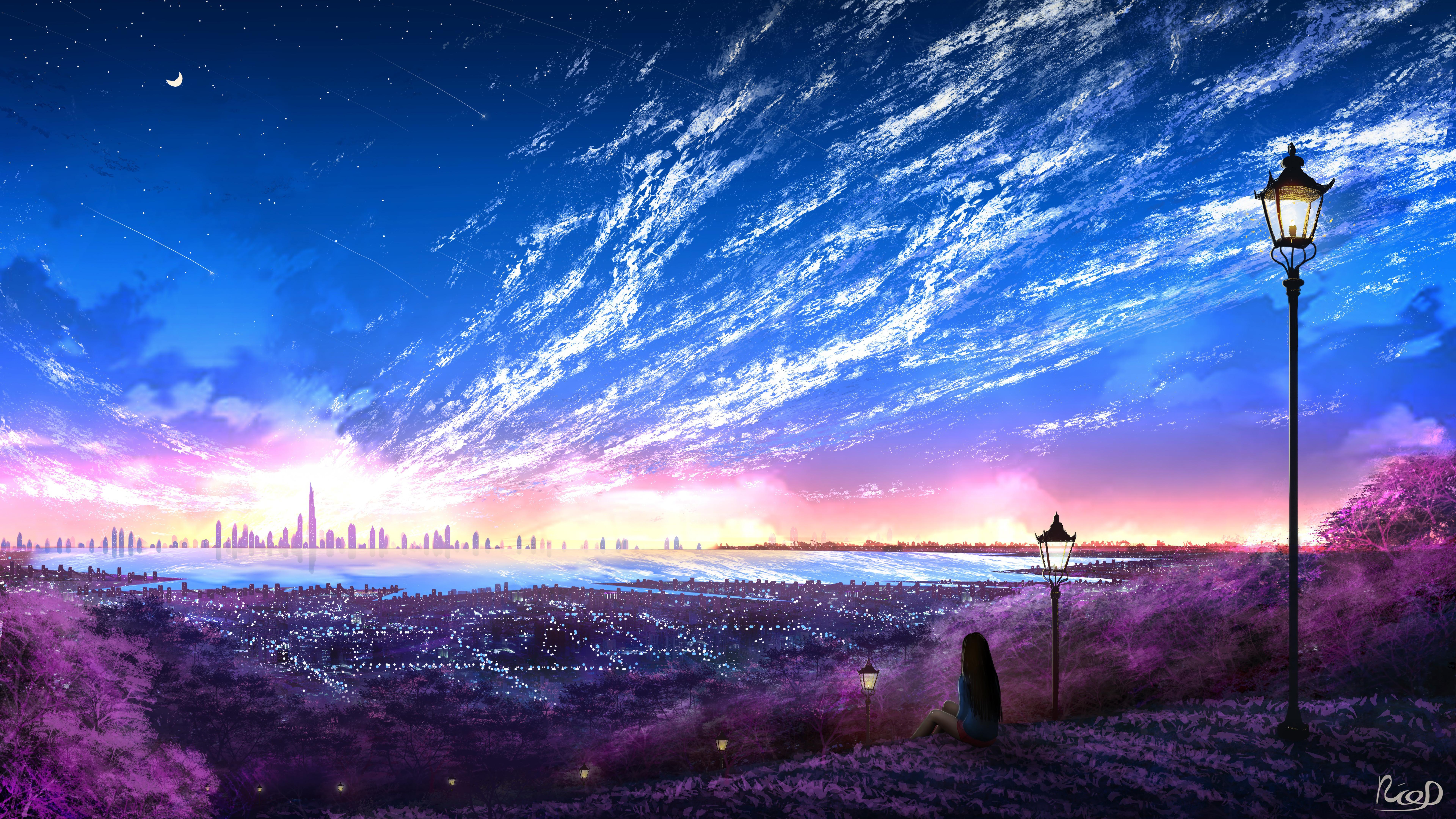 Sky city scenery horizon landscape anime 8k 131 - Anime scenery wallpaper laptop ...