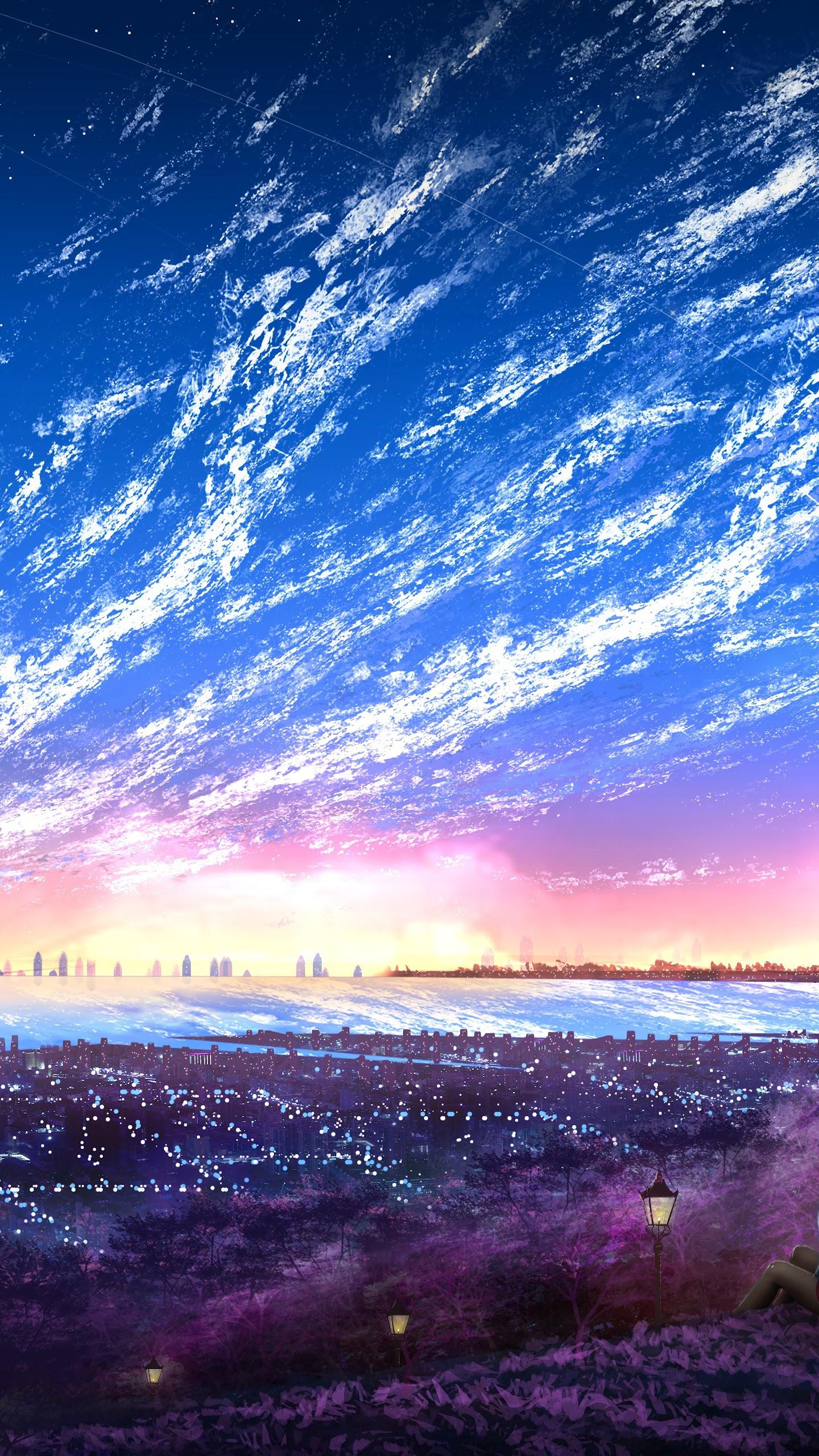 sky city scenery horizon landscape anime uhdpaper.com 8K 131