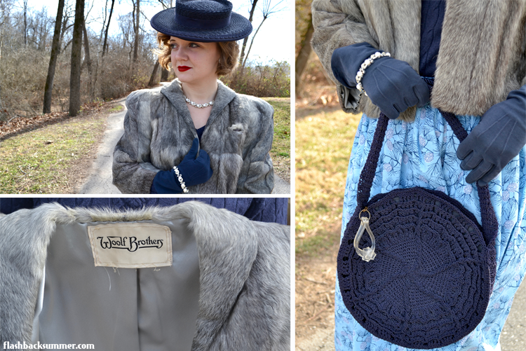 Flashback Summer: Winter Blues - 1940s vintage holiday outfit, fur jacket, tilt hat