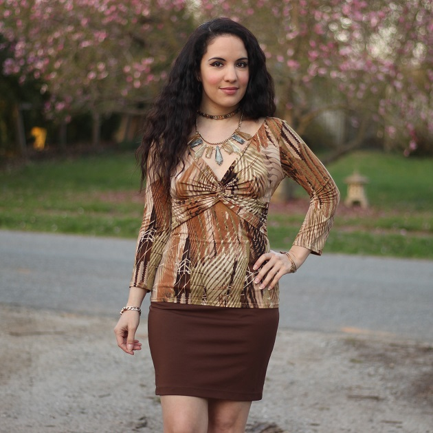 Brown Tropical Print Top