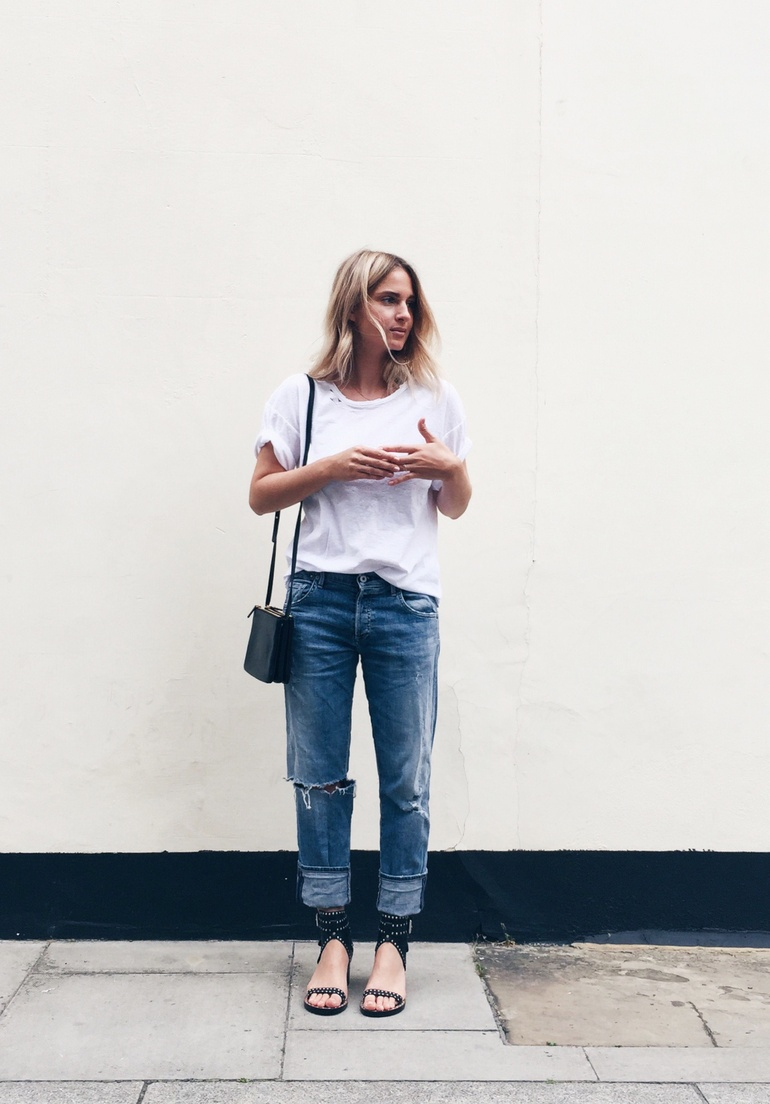 Mija Flatau - White T, Isabel Marant Sandals, Citizens of Humanity Jeans