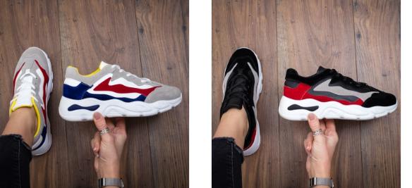 Pantofi sport cu talpa groasa din piele co de calitate ieftini multicolori