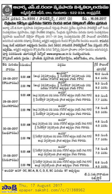 ANGRAU Agricultural Diploma 2nd Phase Counselling 2017