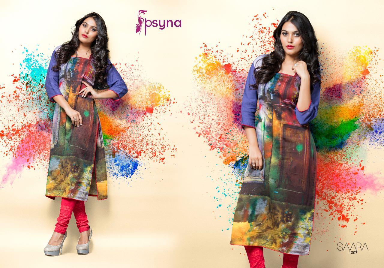 Saara-Stylish Cotton Satin  Digital Printed Kurti Online