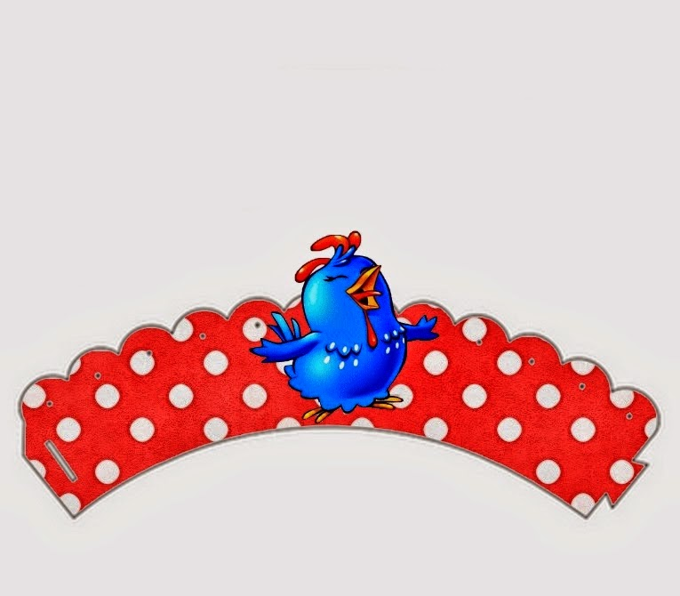 Wrappers para cupcakes de Gallinita Pintadita en Rojo y Celeste.