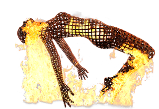A computer generated image of a wireframe sculpture of a person, on fire.