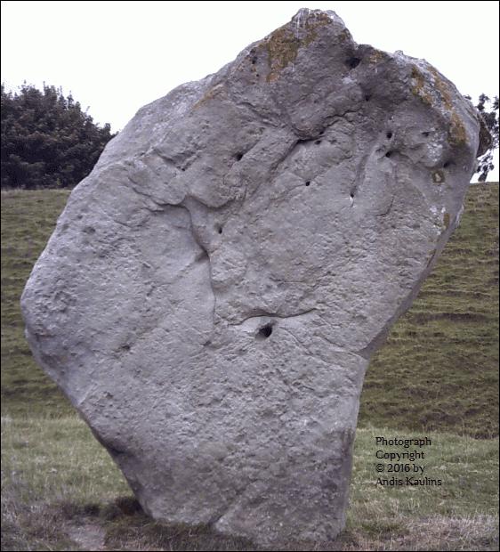 Avebury Henge Stone #9 Photo Leo Frontal Face by Andis Kaulins