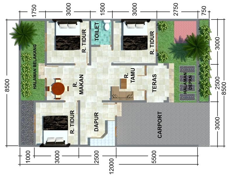 gambar denah rumah sederhana 3 kamar 1