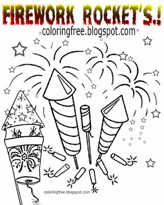 Amazing star pyrotechnics drawing sparkler printable firecracker and firework rockets coloring pages