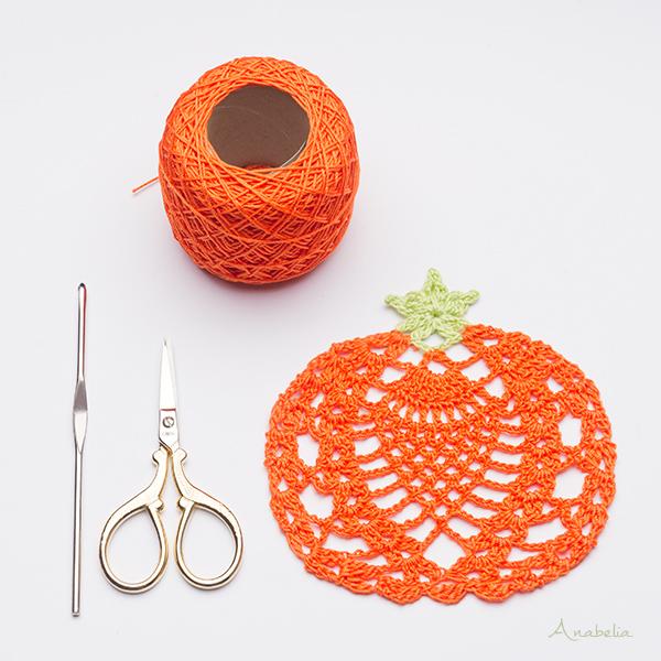 Halloween crochet pumpkin coasters free pattern, Anabelia Craft Design