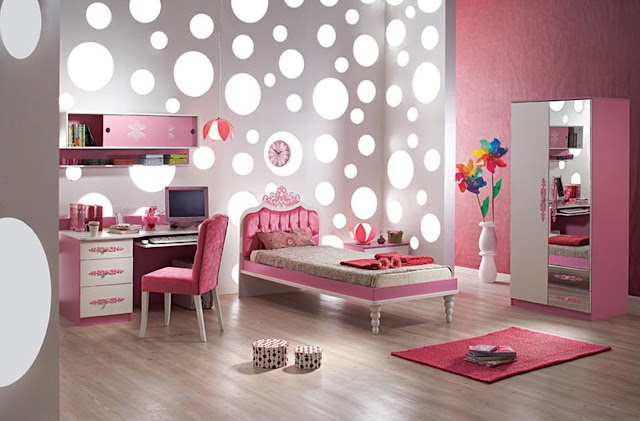 awesome room ideas for girls with small pink bed and pink study desk