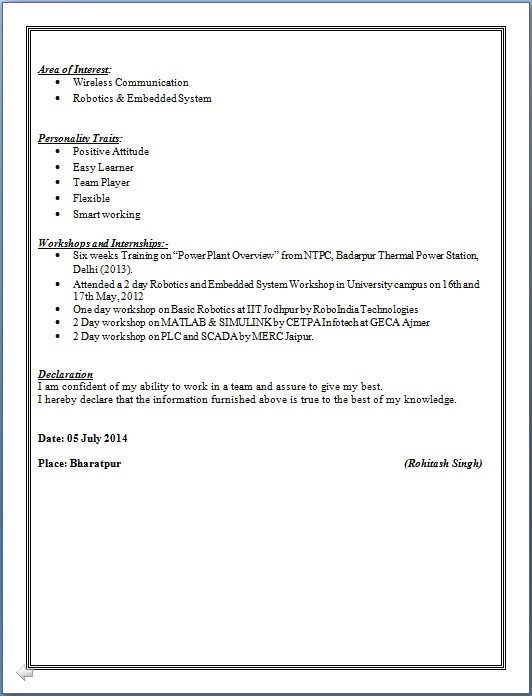 Resume Blog Co Sample Of B Tech Electronics Amp Communication