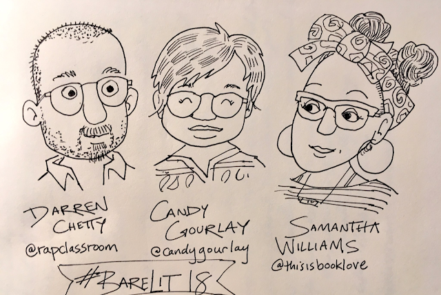 Darren Chetty, Candy Gourlay, Samantha Williams at Bare Lit 2018. Sketch by Sarah McIntyre