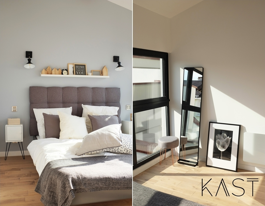 Mały apartament w stylu loftowym - wystrój wnętrz, wnętrza, urządzanie mieszkania, dom, home decor, dekoracje, aranżacje, styl loftowy, loft, styl industrialny, małe wnętrza, kawalerka, małe mieszkanie, otwarta przestrzeń, salon, living room, kuchnia, kitchen, łóżko, zagłówek, sypialnia