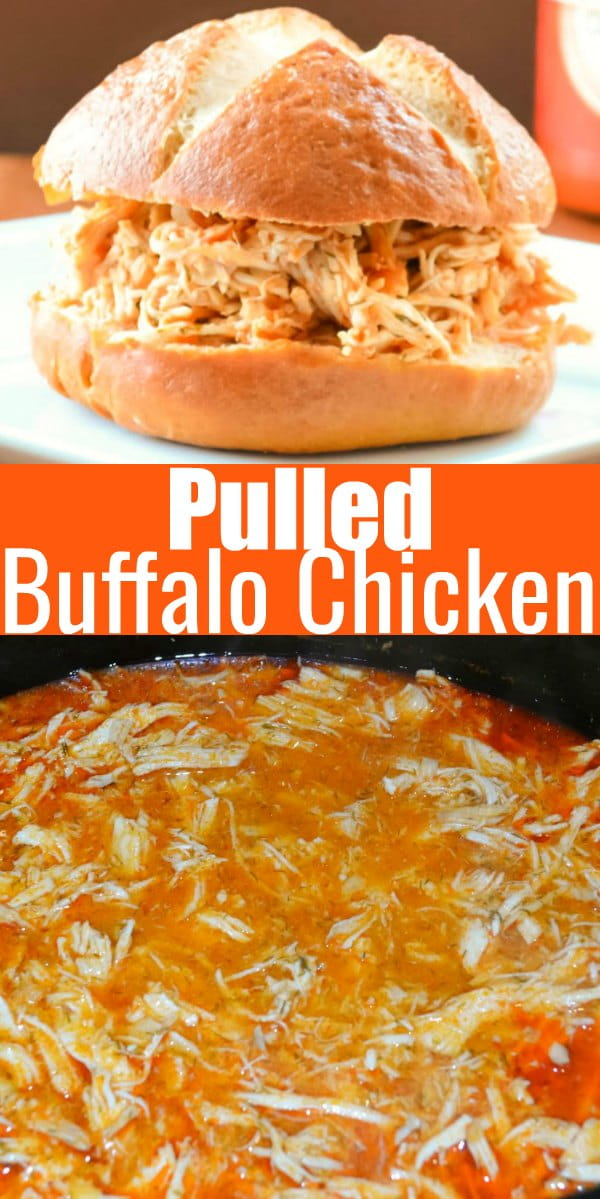 Crock Pot Buffalo Pulled Chicken recipe is a super easy to make dinner recipe. Delicious to make Buffalo Chicken Sandwiches from Serena Bakes Simply From Scratch.