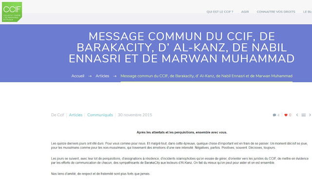 Message commun du CCIF, de Barakacity, d' Al-Kanz, de Nabil Ennasri et de Marwan Muhammad