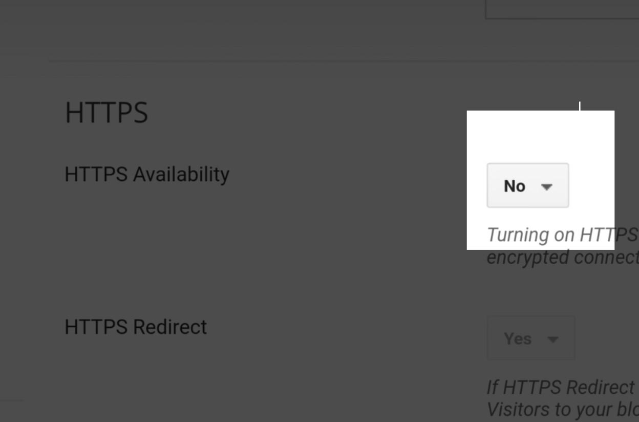 Blogger HTTPS Availability options