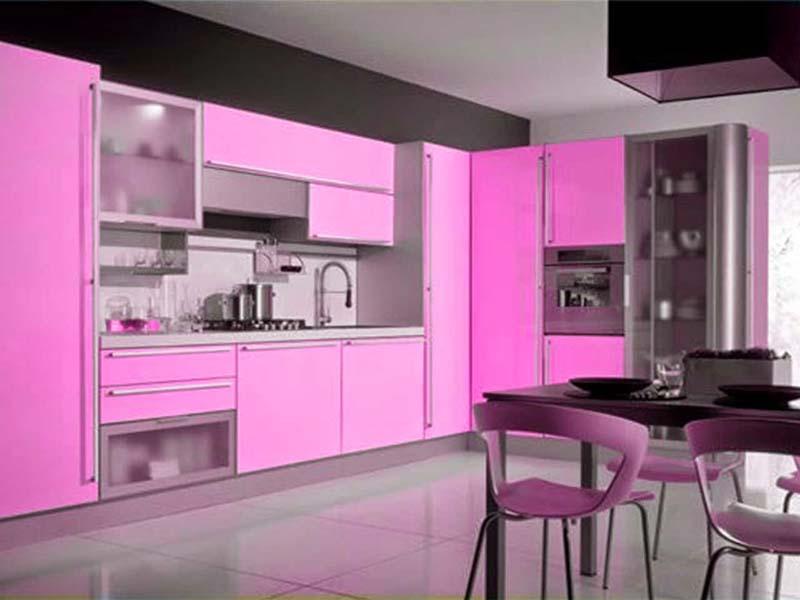 Desain Dapur Minimalis Warna Pink