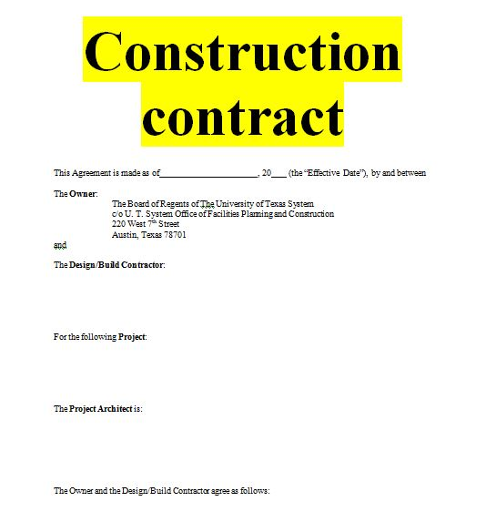 Construction contract sample template forms for fre for Builder contract for new home