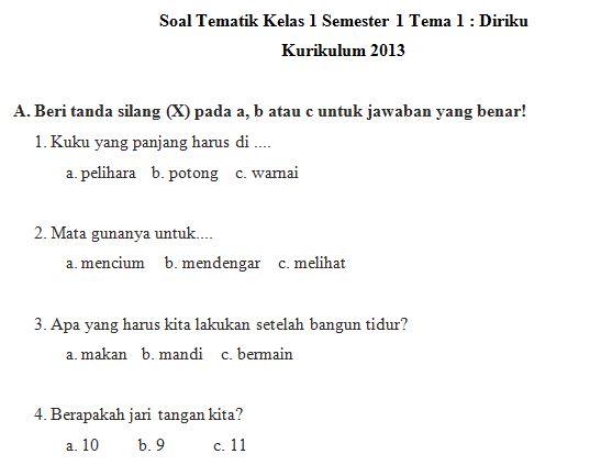 Download Kumpulan Soal SD Kelas 1 Tema 1 Kurikulum 2013 Format Microsoft Word