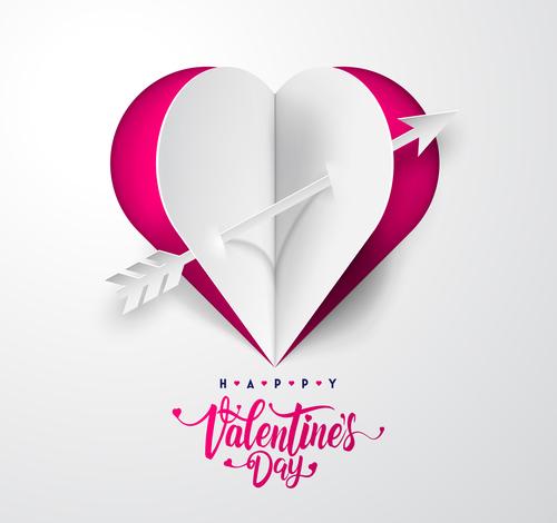 Happy Valentine day White paper Valentines day card free vectors