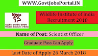 Wildlife Institute of India Recruitment 2018 – Scientist Officer