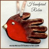 Salt dough robin handprint - salt dough craft ideas for kids