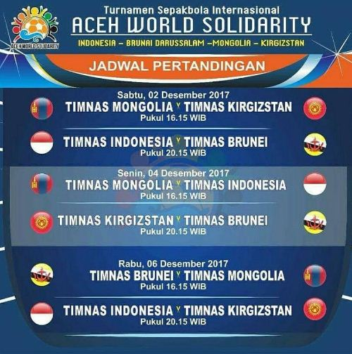 Jadwal Timnas Indonesia di Aceh World Solidarity 2017