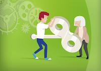 Oudere en jongere werknemer draaien samen aan de sleutel om de boel draaiende te houden