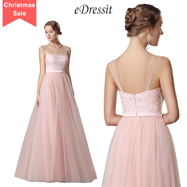 eDressit Flattering Pink Sleeveless Evening Gown Prom Dress