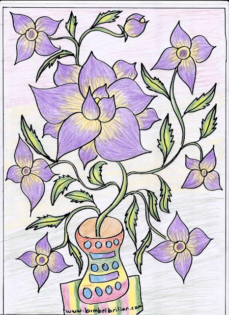 1. Gambar Berwarna Bunga Dalam Pot