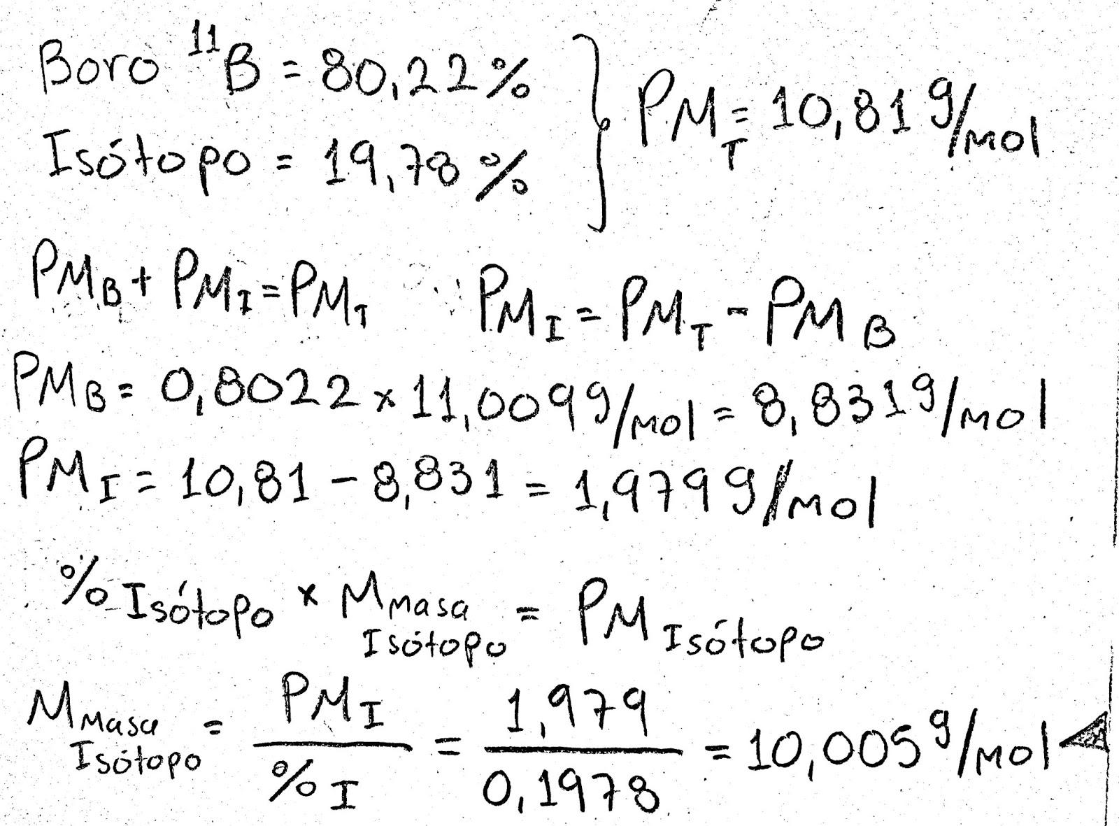 Isotopos masa atomica promedio
