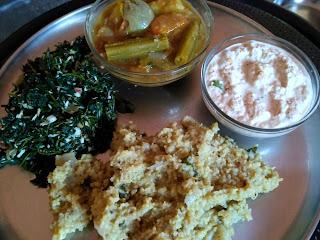 Little millet Ven Pongal, Blacknightshade greens poriyal, Sambhar, Coconut Chutney