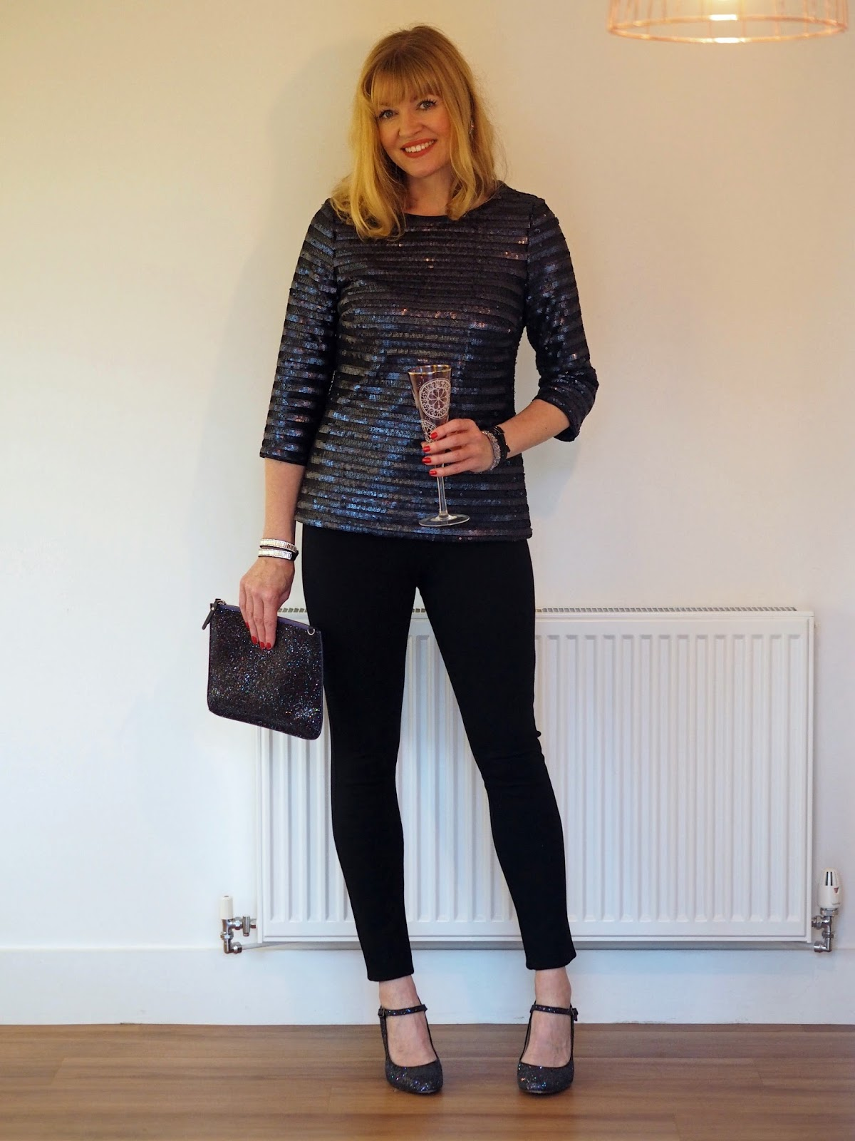 Black and navy sequin top, black stretch trousers, glitter shoes, Christmas outfit, over 40