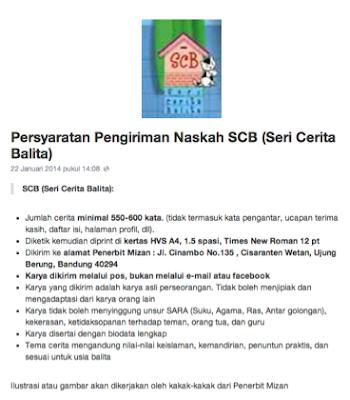 Cara Pengiriman Naskah SCB (Seri Cerita Balita)