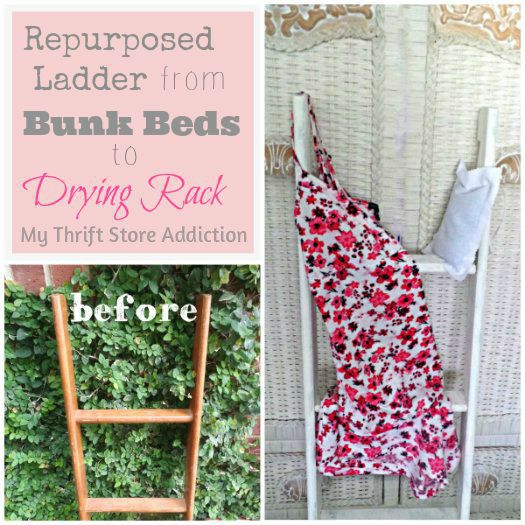 A Little Christmas Ladder and a Dear Gift mythriftstoreaddiction.blogspot.com Yard sale bunk bed ladder first repurposed as a drying rack