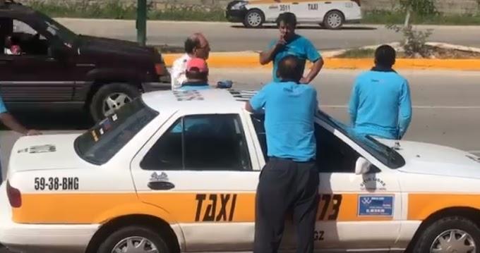 Taxistas abusivos de #TuxtlaGutierrez golpean a señor de la tercera edad.