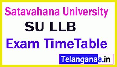 Satavahana University LLB Exam Time Table