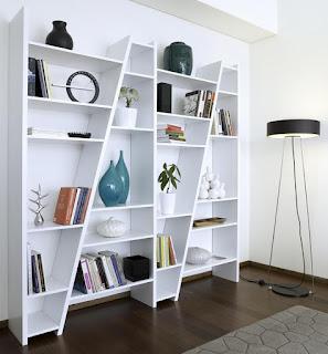 brilliant white modular shelving units plus unique floor lamp and dark wood flooring ideas