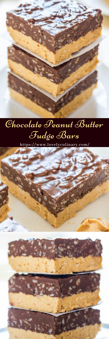 Chocolate Peanut Butter Fudge Bars #desserts #cakerecipe #chocolate