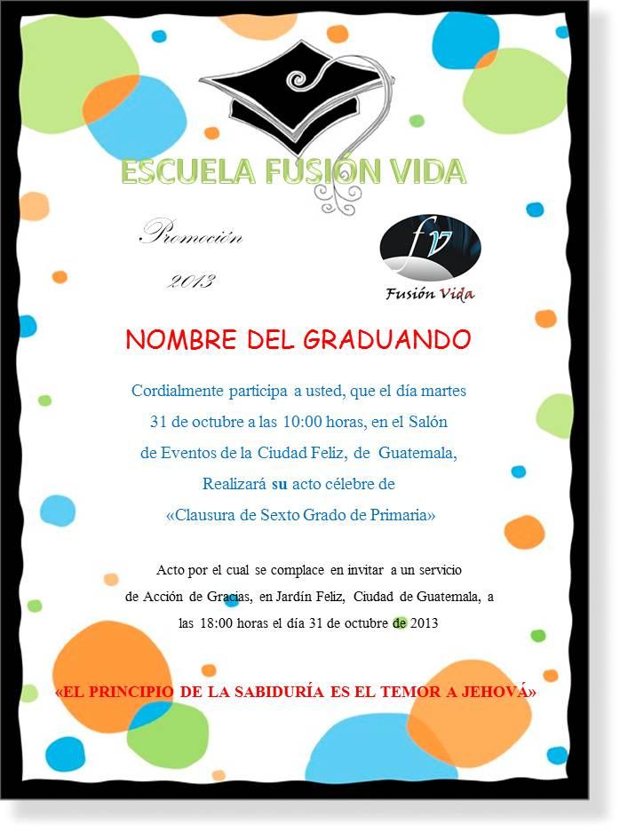 Invitación De Graduación De Primaria Imagui