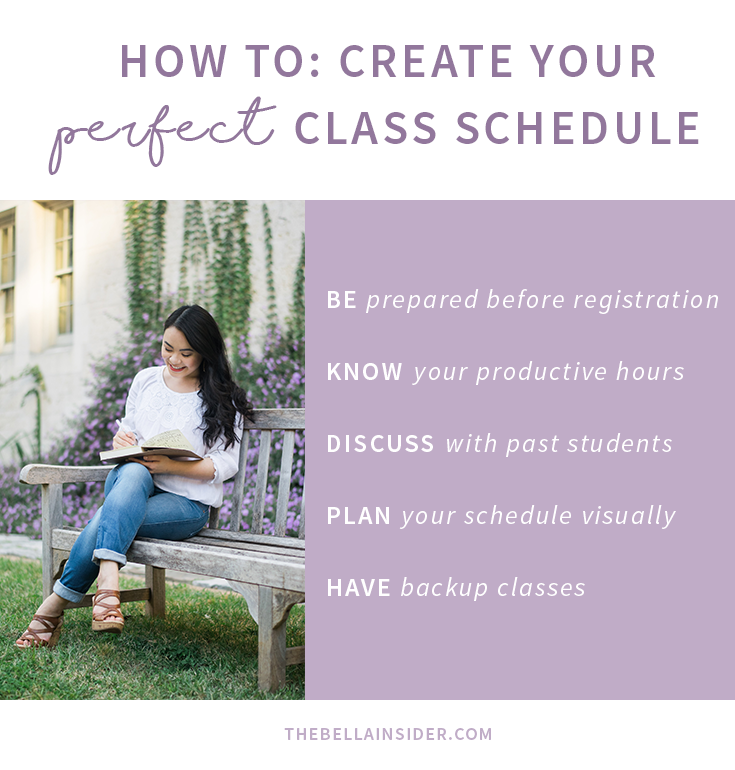 How To: Create Your Perfect College Class Schedule | www.thebellainsider.com