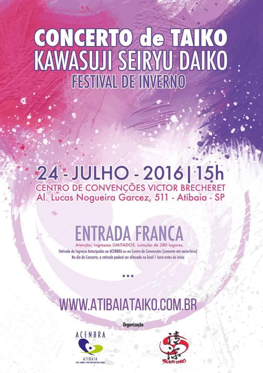 e203cd2734 Concerto de Taiko Kawasuji Seiryu Daiko em Atibaia (SP)