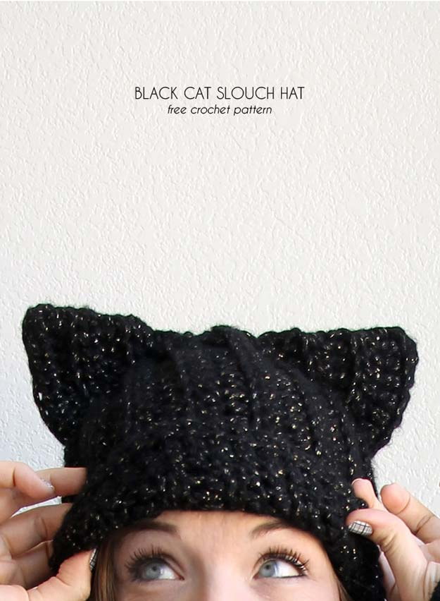 Easy Crochet Projects With Free Step By Step Tutorials - Cat Beanie - crochet, crochet tutorials, crochet projects, easy diy projects, crochet for beginners